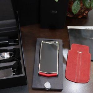 Vertu Aster P Silver Calf Jade Red Full Box New 100 2