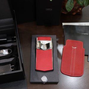 Vertu Aster P Silver Calf Jade Red Full Box New 100